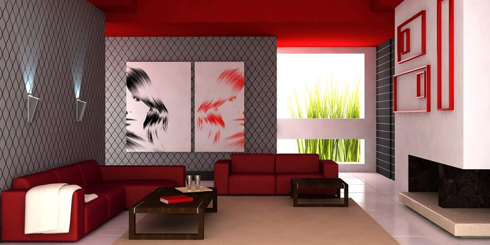red modern apartment