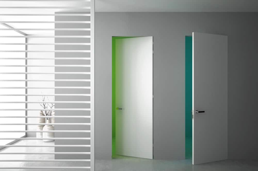 Flush-to-the-wall doors.