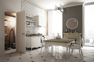 Invisible swing door integrated in the