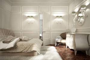 Flush hinged door with decorative frames