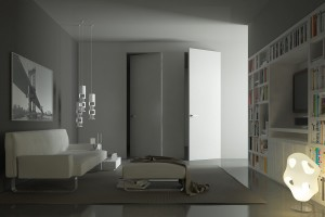 Flush doors that valorize the wide architectural light thanks to custom measures